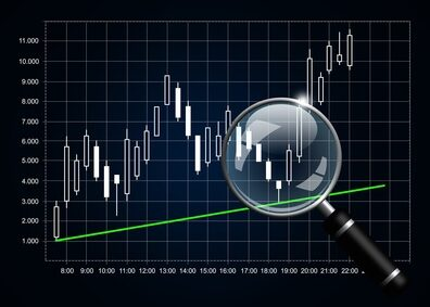 japanese candlestick chart with magnifying glass isolated over dark background